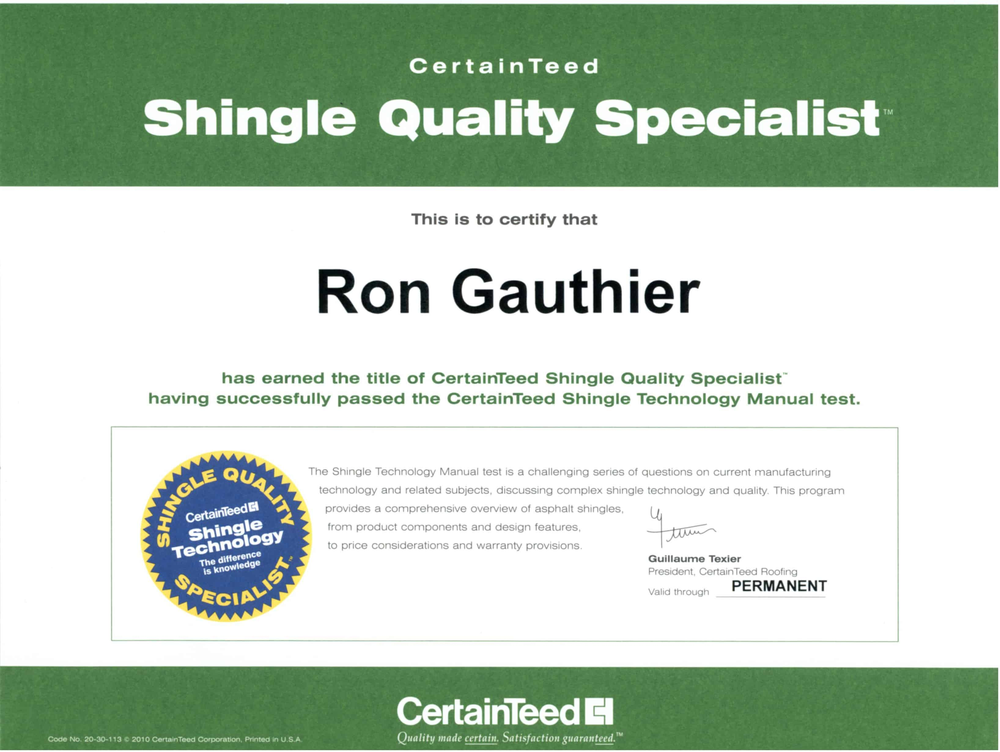 Evaluate Our Credentials Gauthier Roofing And Siding