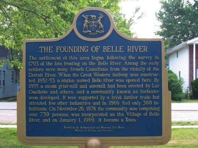 Image of the Belle River Founding Sign