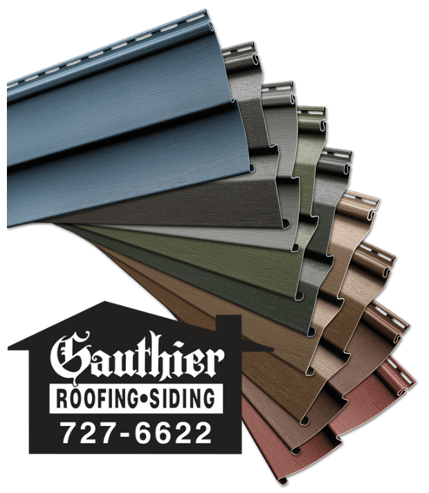 Mitten Vinyl Siding Selection with Gauthier Roofing and Siding Logo