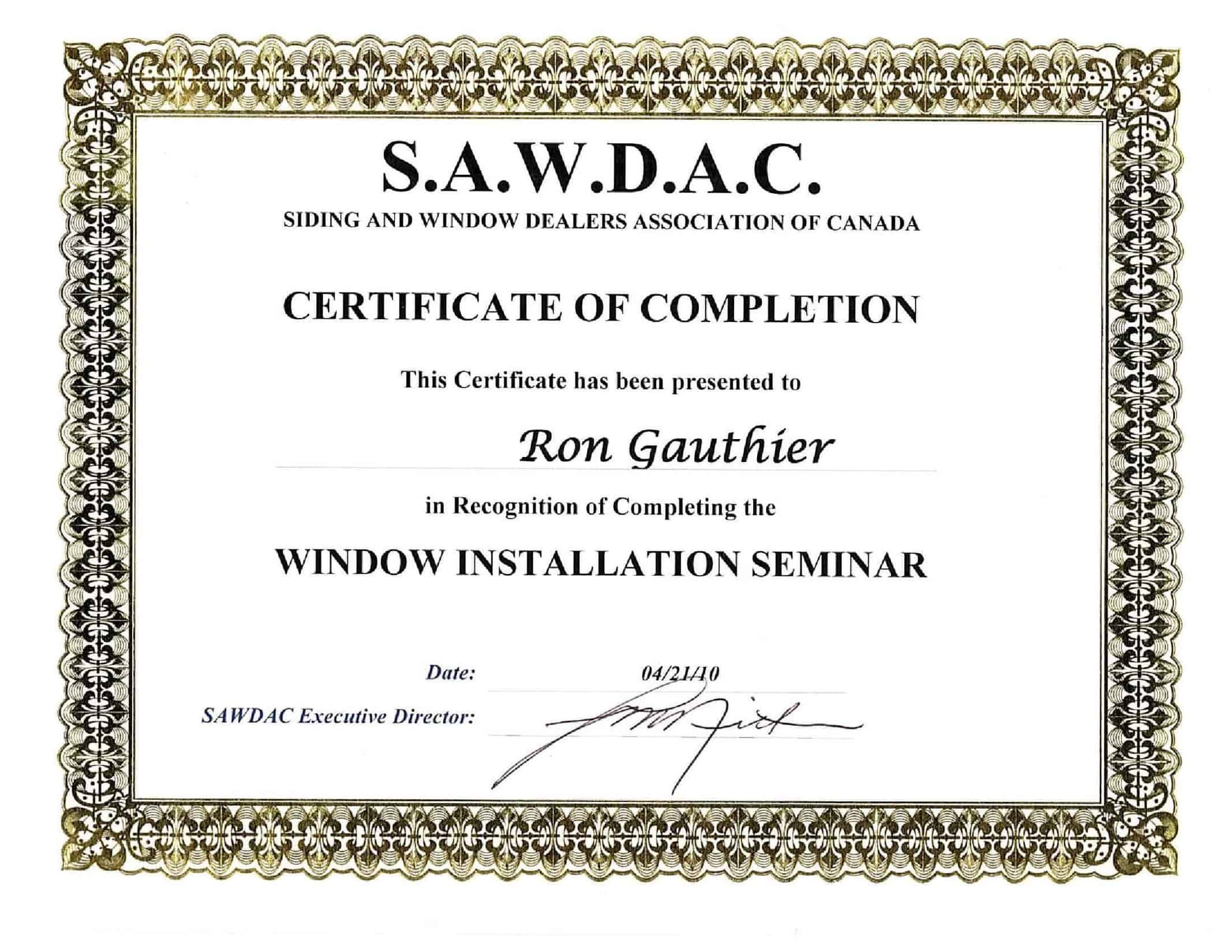 SAWDAC Window Installation Seminar Certificate - Gauthier Roofing and Siding