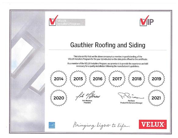 Velux Certificate 2021