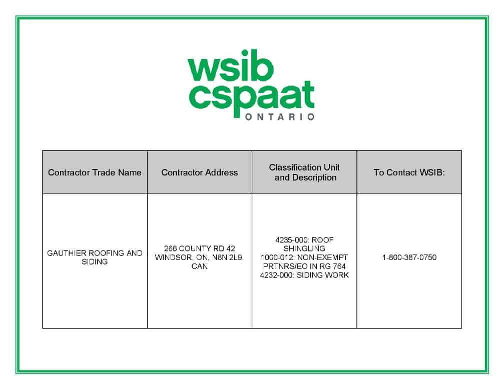 WSIB - Workplace Safety Insurance Board Certificate Info