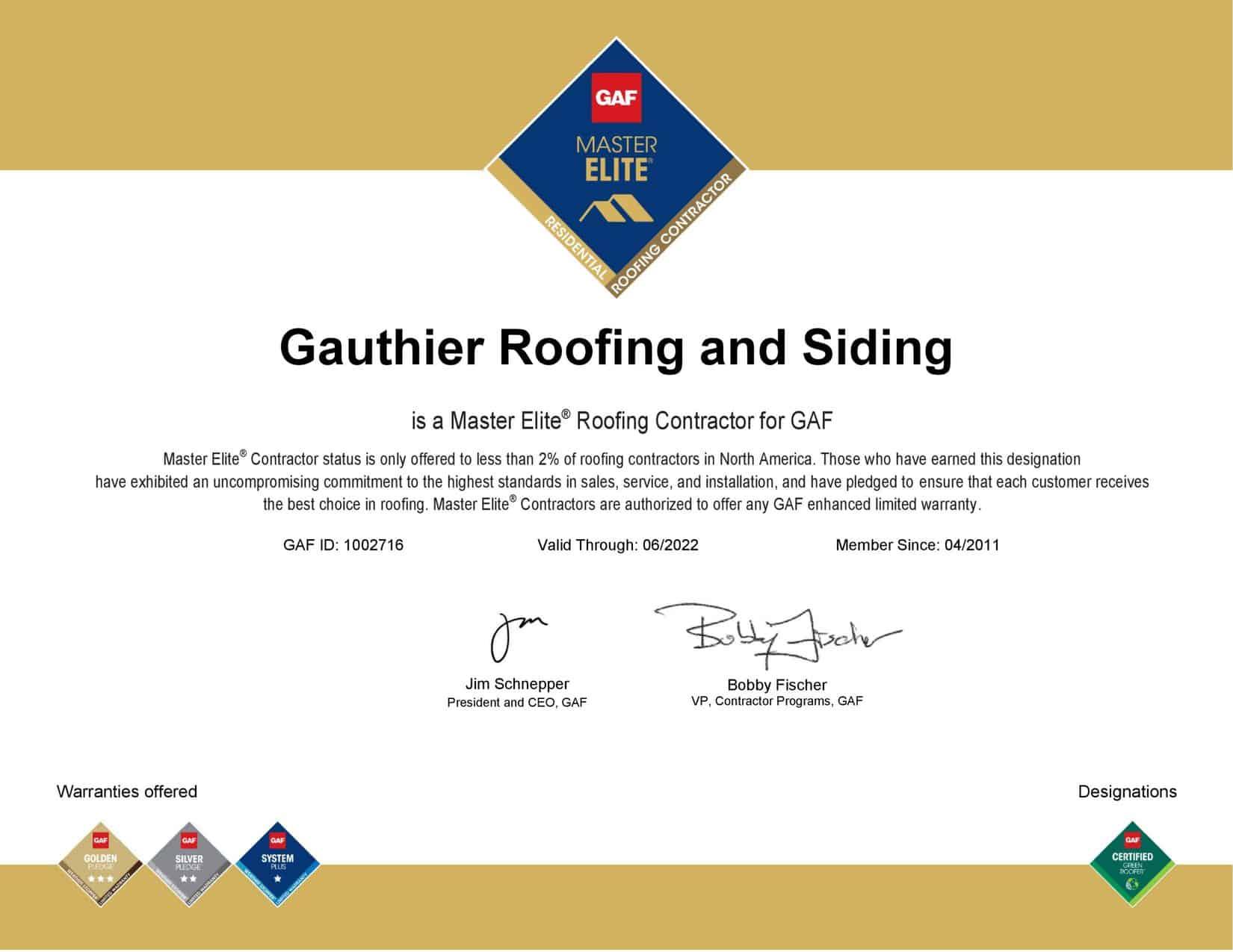 Gauthier Roofing and Siding GAF Master Elite Certificat